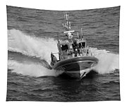 Coast Guard In Black And White Tapestry