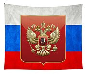 Coat Of Arms And Flag Of Russia Tapestry