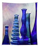 Cobalt Blue Bottles Tapestry