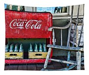 Coca Cola Vintage Cooler And Rocking Chair Tapestry