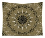 Coffee Flowers 3 Olive Ornate Medallion Tapestry
