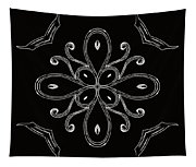 Coffee Flowers 4 Bw Ornate Medallion Tapestry
