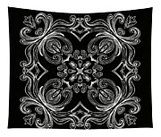 Coffee Flowers 6 Bw Ornate Medallion Tapestry