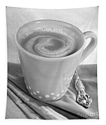 Coffee In Tall Yellow Cup Black And White Tapestry