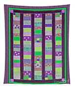 Coin Quilt - Quilt Painting - Purple And Green Patches Tapestry