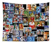 Collage Snowman Horz Photo Art Tapestry