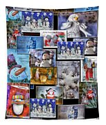 Collage Xmas Cards Vertical Photo Art Tapestry