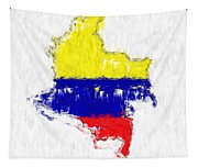 Colombia Painted Flag Map Tapestry