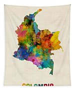 Colombia Watercolor Map Tapestry