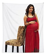 Color Portrait Young Pregnant Spanish Woman Leaning On Chair Tapestry