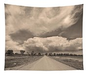 Colorado Country Road Sepia Stormin Skies Tapestry