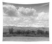 Colorado Front Range Rocky Mountains Panorama Bw Tapestry