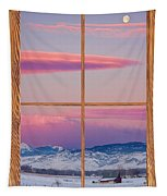 Colorado Moon Sunrise Barn Wood Picture Window View Tapestry