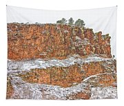 Colorado Red Sandstone Country Dusted With Snow Tapestry