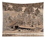 Colorado Rocky Mountain Barn Sepia Tapestry