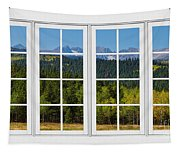 Colorado Rocky Mountains White Window Frame View Tapestry