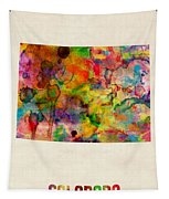 Colorado Watercolor Map Tapestry by Michael Tompsett
