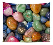 Colored Polished Rocks Tapestry