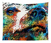 Colorful Bear Art - Bear Stare - By Sharon Cummings Tapestry