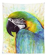 Macaw Watercolor Tapestry by Olga Shvartsur