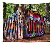 Colorful Box Car In The Forest Tapestry