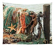 Colorful Catch - Starfish In Fishing Nets Tapestry