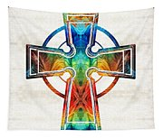 Colorful Celtic Cross By Sharon Cummings Tapestry