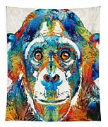 Colorful Chimp Art - Monkey Business - By Sharon Cummings Tapestry