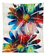 Colorful Daisy Art - Hip Daisies - By Sharon Cummings Tapestry