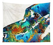 Colorful Dog Art - Loving Eyes - By Sharon Cummings  Tapestry