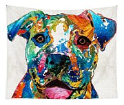 Colorful Dog Pit Bull Art - Happy - By Sharon Cummings Tapestry