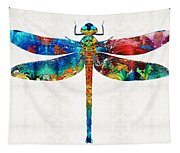 Colorful Dragonfly Art By Sharon Cummings Tapestry