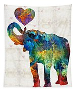 Colorful Elephant Art - Elovephant - By Sharon Cummings Tapestry
