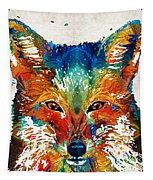 Colorful Fox Art - Foxi - By Sharon Cummings Tapestry