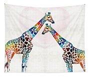 Colorful Giraffe Art - I've Got Your Back - By Sharon Cummings Tapestry