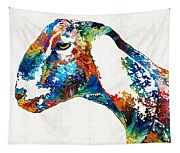 Colorful Goat Art By Sharon Cummings Tapestry