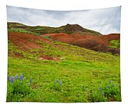 Colorful Iceland Landscape With Green Orange Brown Tones Tapestry