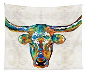 Colorful Longhorn Art By Sharon Cummings Tapestry