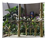 Colorful Macaws And Other Small Birds On Trees At An Exhibit Tapestry