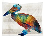 Colorful Pelican Art By Sharon Cummings Tapestry