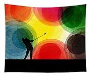 Colorful Retro Silhouette Golfer Tapestry