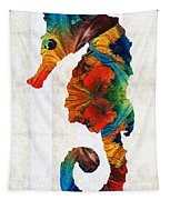 Colorful Seahorse Art By Sharon Cummings Tapestry