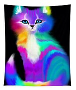Colorful Striped Rainbow Cat Tapestry