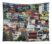 Colorful Town Tapestry