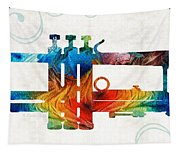 Colorful Trumpet Art Color Fusion By Sharon Cummings Tapestry
