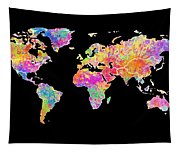 Colorful Watercolor World Map Tapestry