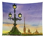 Colors Of Russia Bridge Light In Saint Petersburg Tapestry