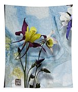 Columbine Blossom With Suminagashi Ink Tapestry