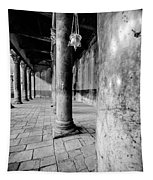 Columns At The Church Of Nativity Black And White Vertical Tapestry