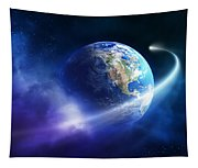 Comet Moving Passing Planet Earth Tapestry